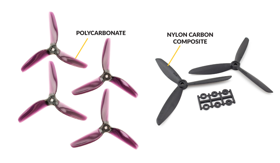 Different propeller materials, polycarbonate and nylon carbon composite as an example