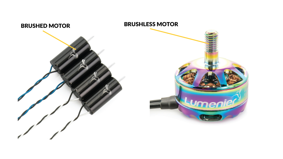 Visual differences between a brushed and brushless motor