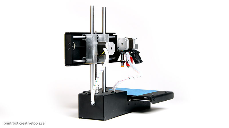 3D Printing for FPV Polar Style Printer Printrbot Simple Black Sheet Metal Blue Painter Tape on Bed