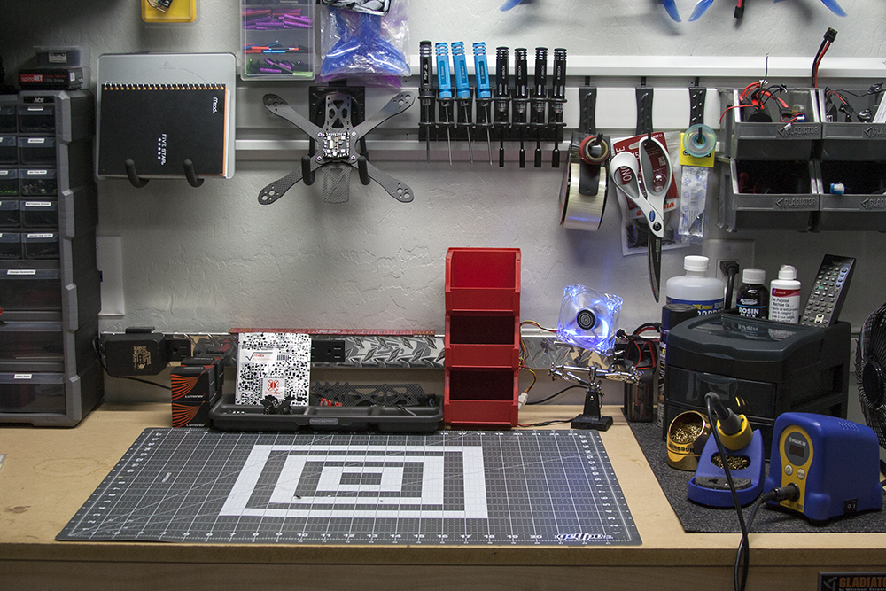 Close up shot showing clean and organized workbench