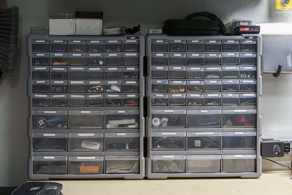 Multi Drawer Bins with labels for all the parts