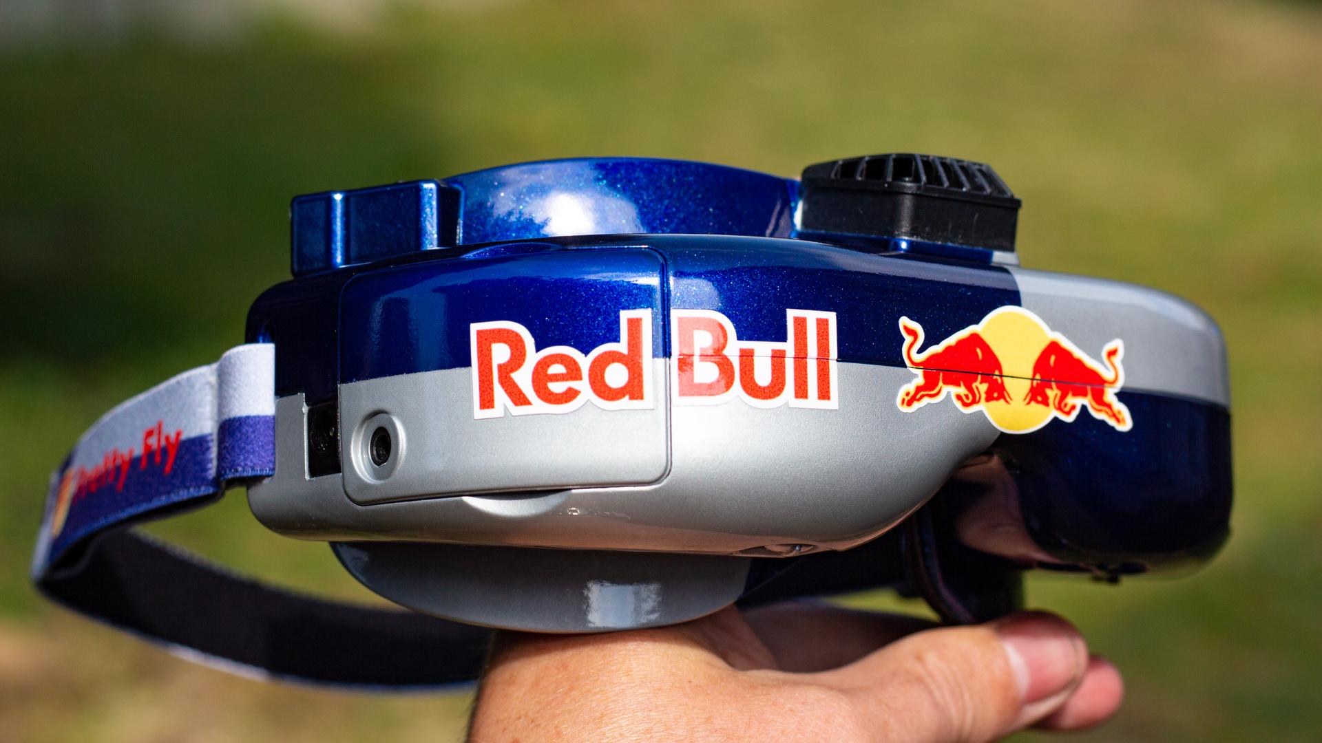 custom fatshark fpv goggles held in hand