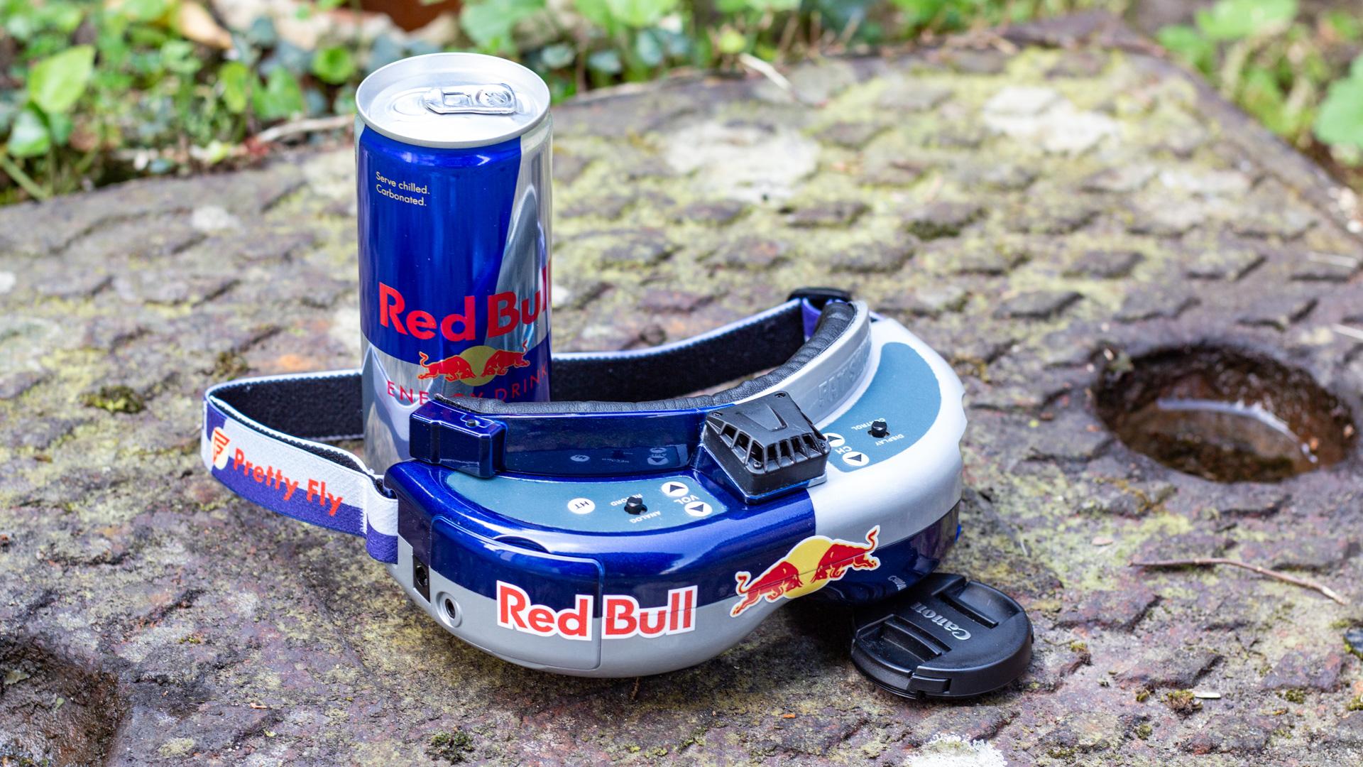 custom fatshark FPV goggles on ground