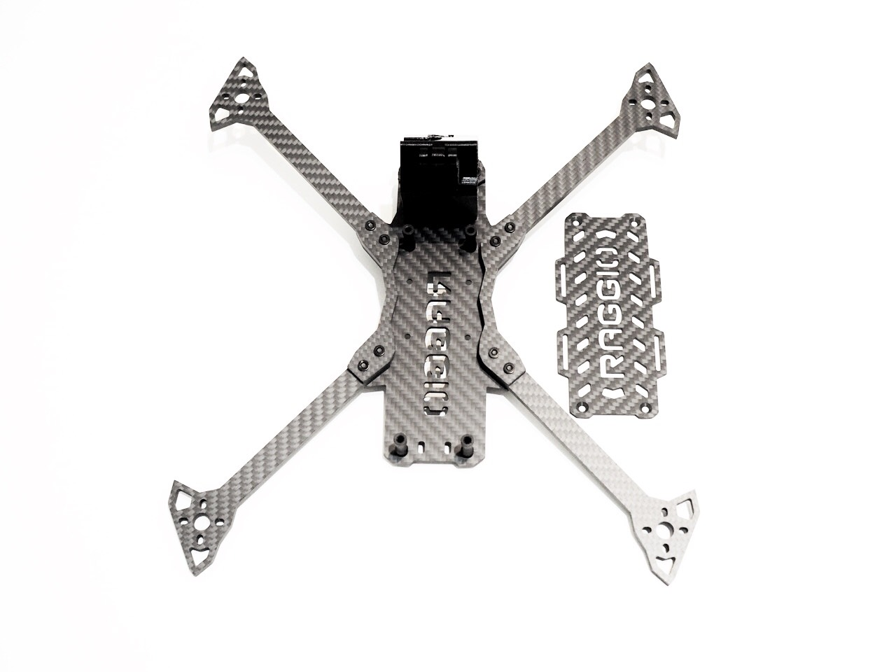 Raggio Lungo Falcon Multirotors Carbon Fiber Frame Arm Brace TPU 3D Printed GoPro Mount Wedge Top Plate