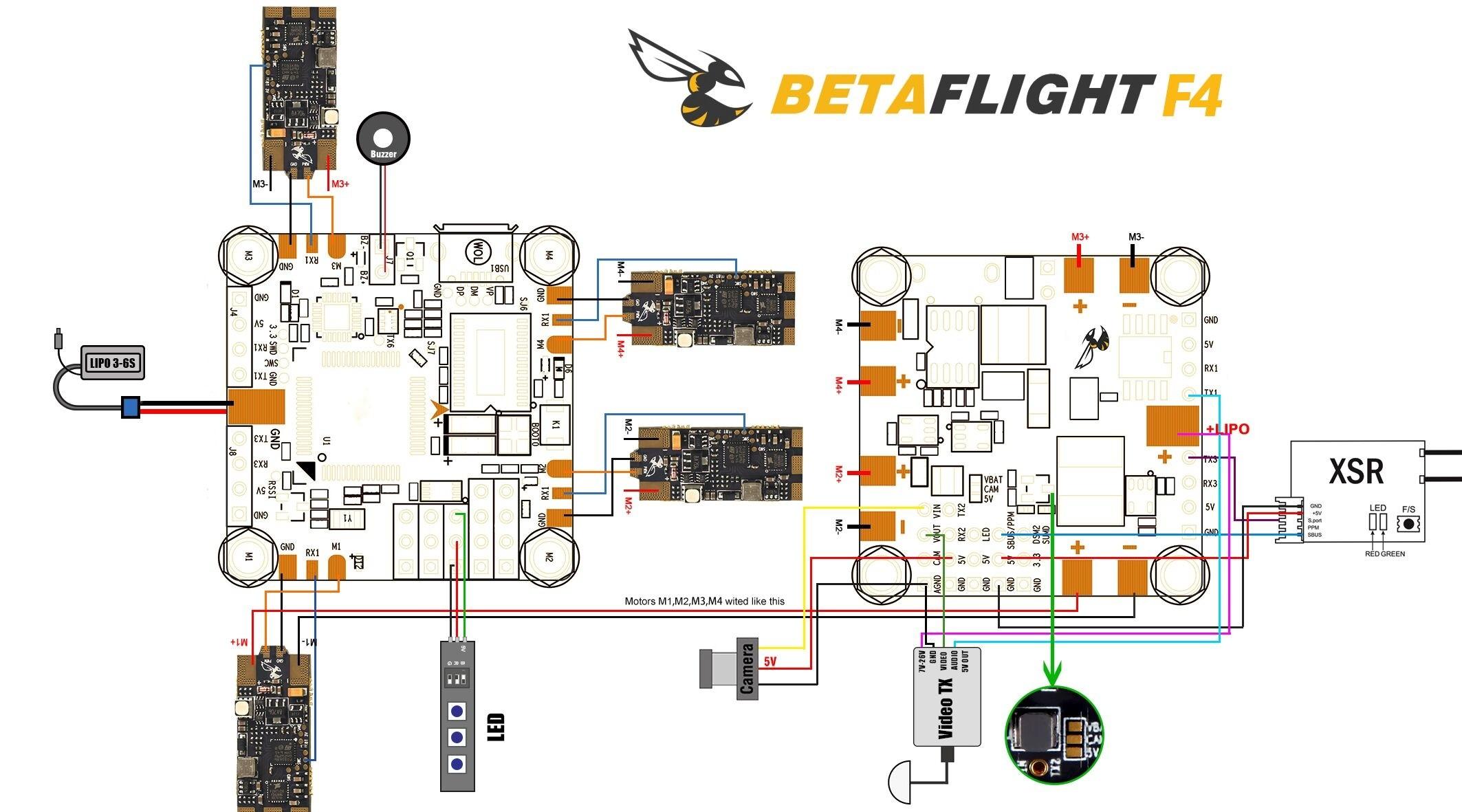 Betaflight F4 FC - Wiring Diagram