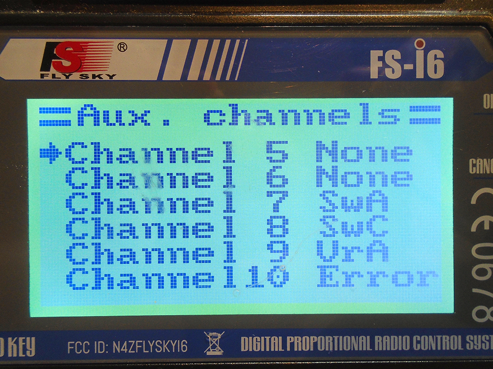 FlySky-FS-i6-Channel Screen