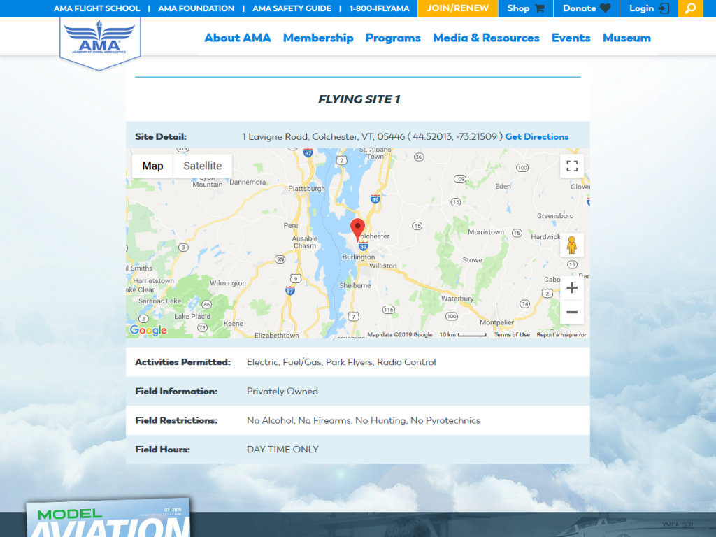 Screen capture of AMA website showing location of a flying site
