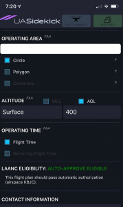 Screen capture showing different types of operating areas, altitude selector, operating time, and contact information