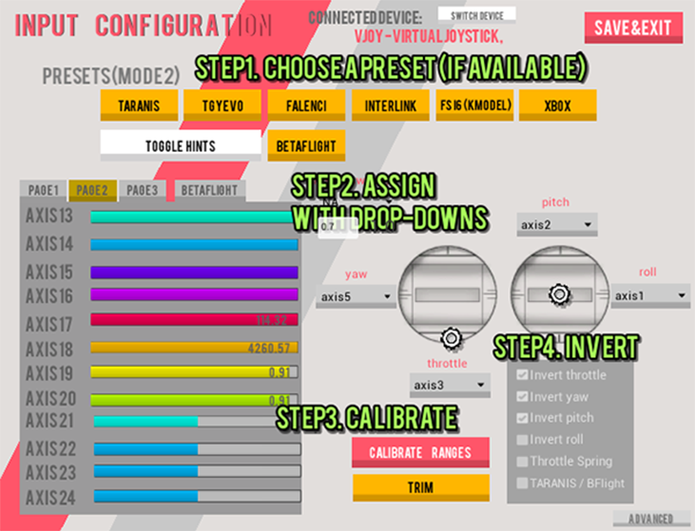 FPV Air 2 - Input Configuration Menu