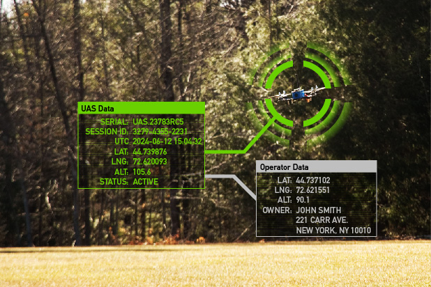 Image of a drone in flight with remote ID data overlaid such as position and owner name