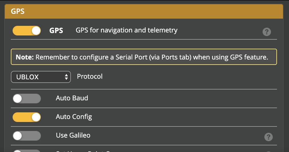 GPS Rescue Setup - GPS panel
