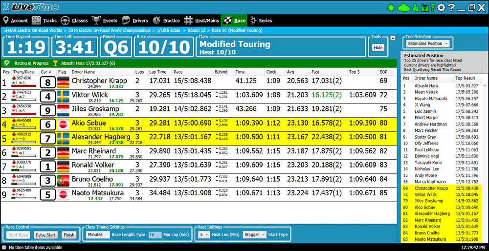 User Interface for LiveTime Scoring Software