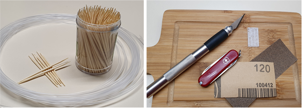 Toothpicks, sandpaper, hobby knife