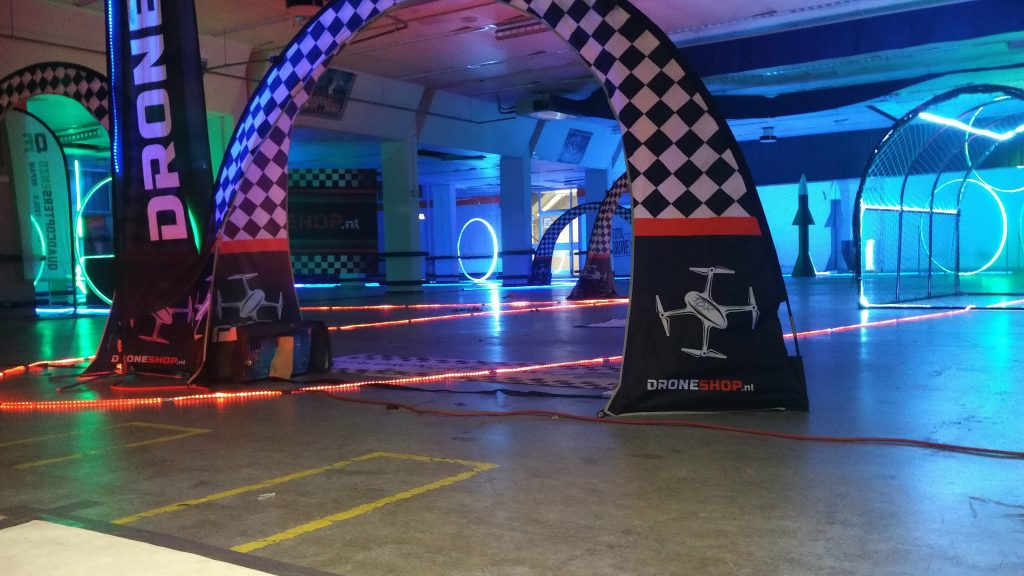 Indoor FPV racing course with lots of LED lights